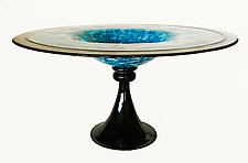 Blue Incalmo Pedestal Bowl by Minh Martin (Art Glass Bowl)