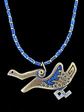 Lapis Wing Saxophone Key Necklace by Lisa and Scott  Cylinder (Metal Necklace)