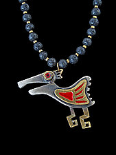 Brass Wing Saxophone Key Necklace by Lisa and Scott  Cylinder (Metal Necklace)
