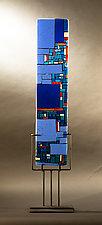 Blue Mosaic by Vicky Kokolski and Meg Branzetti (Art Glass Sculpture)