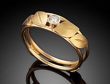 Leaves & Diamond Ring by Ben Dyer (Gold & Stone Ring)