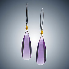 Amethyst and Gold Quartz Earrings by Judy Bliss (Silver & Stone Earrings)