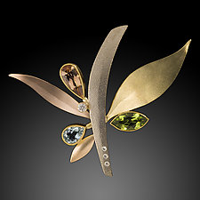 Leaves & Branch  Pin/Pendant by Ben Dyer (Gold & Stone Brooch)