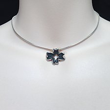 Small Dogwood Flower Pendant by Kathleen Lynagh (Silver Necklace)