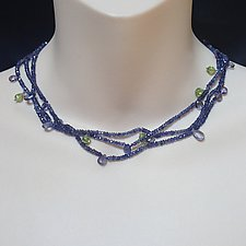 Triple Strand s of Iolite & Peridot Gems by Kathleen Lynagh (Beaded Necklace)