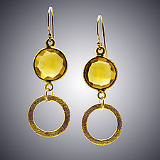 Gold Quartz and Vermeil Earrings by Judy Bliss (Gold & Stone Earrings)
