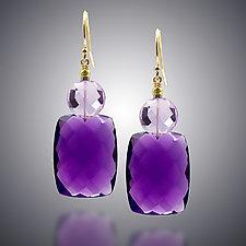 Amethyst and Pink Amethyst Earrings by Judy Bliss (Gold & Stone Earrings)