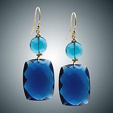 Blue Quartz and London Blue Quartz Earrings by Judy Bliss (Gold & Stone Earrings)