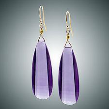 Amethyst Batwing Earrings by Judy Bliss (Gold & Stone Earrings)