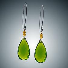 Peridot Quartz and Oxidized Silver Earrings by Judy Bliss (Silver & Stone Earrings)