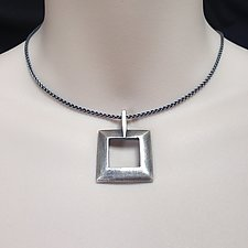 Sterling Silver Square Pendant by Kathleen Lynagh (Silver Necklace)