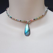 Gorgeous Labradorite Drop on Colorful CZ Necklace by Kathleen Lynagh (Beaded Necklace)