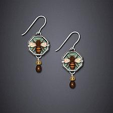 Verdigris Bee by Dawn Estrin (Silver Earrings)