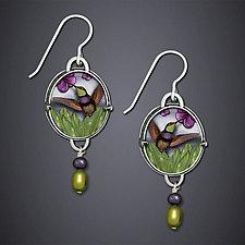 Purple Hummingbird Earrings by Dawn Estrin (Silver Earrings)