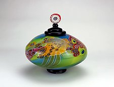 Color Field Lidded Disk in Green and Blue by Wes Hunting (Art Glass Vessel)