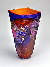 Color Field Square Vessel in Saffron by Wes Hunting (Art Glass Vessel)