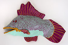 Gold Dazzler Fish by Byron Williamson (Ceramic Wall Sculpture)