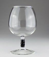 Cognac Glass with Black, White, and Gold Stem by Bandhu Scott Dunham (Art Glass Drinkware)