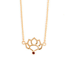 Lotus Necklace with Anthill Garnet by Karin Jacobson (Gold & Stone Necklace)