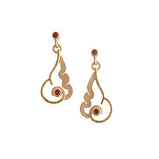 Flame Earrings with Anthill Garnets by Karin Jacobson (Gold & Stone Earrings)