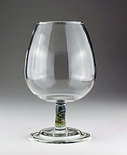Cognac Glass with Nephridian Stem by Bandhu Scott Dunham (Art Glass Drinkware)