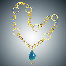 Turquoise and Vermeil Necklace by Judy Bliss (Gold & Stone Necklace)