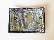 Time & Space Rectangular Bowl II by Janine Sopp (Ceramic Bowl)
