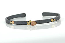 Medium Cuff Bracelet with Pebbles Cluster by Rona Fisher (Gold & Silver Bracelet)