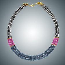 Blue Quartz, Pink Quartz and Hematite Necklace by Judy Bliss (Gold & Stone Necklace)