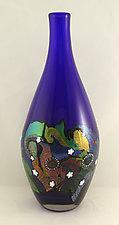 Large Cosmic Bottle by Ken Hanson and Ingrid Hanson (Art Glass Vessel)