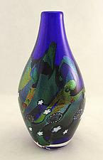Small Cosmic Bottle by Ken Hanson and Ingrid Hanson (Art Glass Vessel)