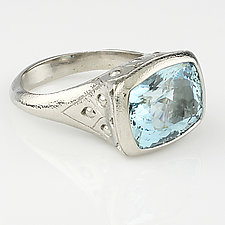 Cushion Cut Aquamarine Ring by Rona Fisher (Palladium & Stone Ring)