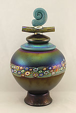 Lidded Vines Vessel with Nautilus by Ken Hanson and Ingrid Hanson (Art Glass Vessel)