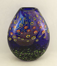 Cobalt Island Series Vase by Ken Hanson and Ingrid Hanson (Art Glass Vessel)