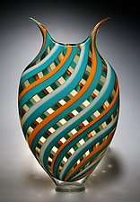 Teal, Persimmon, Amber Foglio by David Patchen (Art Glass Vessel)