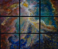 Starlight in Nine Panels by Cynthia Miller (Art Glass Wall Sculpture)