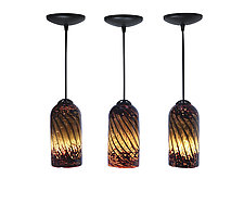 Trio of Burgundy Striated Mini Pendants by Joel and Candace  Bless (Art Glass Pendant Lamps)