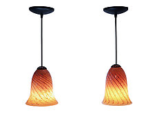 Pair of Peachy Mini Pendants by Joel and Candace  Bless (Art Glass Pendant Lamps)