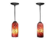 Pair of Plum Crinkled Mini Pendants by Joel and Candace  Bless (Art Glass Pendant Lamps)