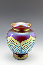 Red Footed Luster Vase by Donald  Carlson (Art Glass Vase)