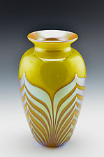 Yellow Vase with Gold Interior by Donald  Carlson (Art Glass Vase)