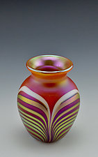 Orange and Gold Vase, Miniature Size by Donald  Carlson (Art Glass Vase)