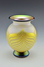 White and Gold Lustre Vase by Donald  Carlson (Art Glass Vase)