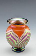 Orange Footed Vase, Miniature Size by Donald  Carlson (Art Glass Vase)