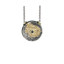Erosion Pendant with Black Diamond by Jenny Reeves (Gold, Silver & Stone Necklace)