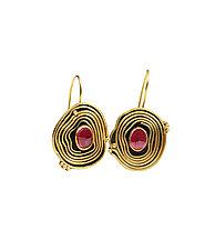 Ruby Granulated Earrings by Nancy Troske (Gold & Stone Earrings)