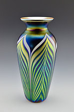 Black Lustre Feather Pattern by Donald  Carlson (Art Glass Vase)