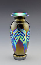 Black Footed Vase by Donald  Carlson (Art Glass Vase)