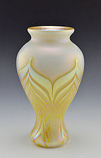 Tall White and Gold Lustre Vase by Donald  Carlson (Art Glass Vase)