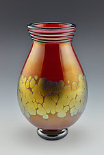 Red and Gold Lustre Vase by Donald  Carlson (Art Glass Vase)